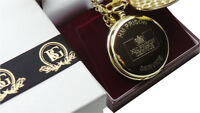 HM PRISON SERVICE Gold Pocket Watch Jail Warden Officer Luxury Gift Case HMP