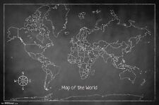 CHALK MAP OF THE WORLD POSTER - 22x34 - GEOGRAPHY 14365