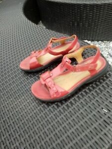 Red Leather CLARKS Unstructured Sandals Flats UK 4.5