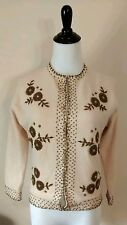 Vintage Retro Gold Hand Beaded Floral Ivory Wool Cardigan Sweater Mid Century