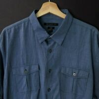 JOHN VARVATOS Luxe Men's Button Front Shirt Blue Cotton Size XXL