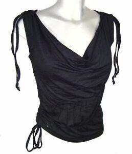 Hooch Womens Top size 8 10 Black Yellow Cowl neck sleeveless New