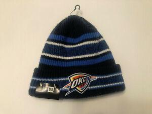 Oklahoma City Thunder New Era Knit Hat Team Color NBA Vintage stripe Beanie Cap
