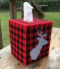 Stag Head Buffalo Plaid Tissue Cover Buck Red Black handmade canvas