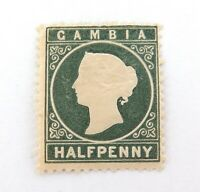.SCARCE GAMBIA 1869 QV 1/2d MH EMBOSSED STAMP. NICE COLOUR & GRADE.