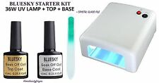 BLUESKY UV LED NAIL GEL POLISH STARTER KIT WHITE 36W UV LAMP  PLUS TOP + BASE