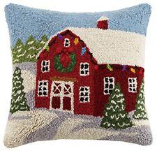 Peking Handicraft Winter Barn Hook Wool Throw Pillow, Multicolored