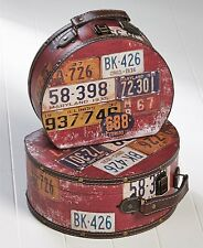 Set Of 2 Rustic License Plate Storage Cases Vintage Style Suitcase Trunk Decor
