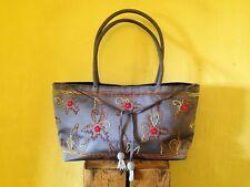 Vintage boho look blue purple floral embroidered beaded wedding shoulder bag