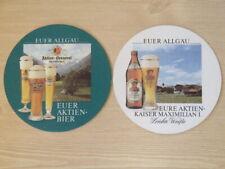 Beer Coaster ~ AKTIEN Brauerei Kaufbeuren Allgau Weiss Bier ~ Bavaria, GERMANY