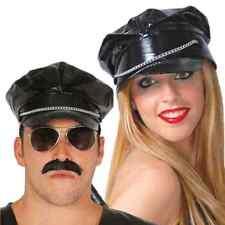 Adult Black PVC Biker Punk Cap Hat with Chain