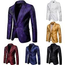 Mens Foral Sequins Tuxedo Suit Evening Party Coat Gentleman Jacket One Button AU