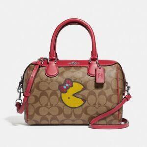 Coach Women's Mini Bennet Satchel Bag in Signature Canvas w/ Ms. Pac-Man