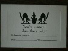 Vintage Halloween Invitation UNUSED 1920 - 1930's Scary Black Cat Cats Spooky A9
