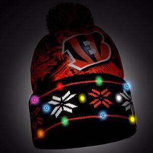 Cincinnati Bengals Big Logo Light Up Printed Beanie Winter Hat Toque Cuffed Pom