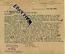 1897 Letterhead B. L. DAVIS Fort Worth TEXAS Lawyer ATTORNEY Land Mortgage Bank