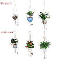 Vintage Plant Hanger Garden handmade Basket Rope 4 legs Macrame Flowerpot Holder