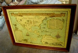 Rare 1952 - Framed - Marvel Maps - The Americana Treasure Map - John D. Lawrence