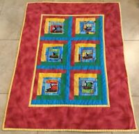 Patchwork Crib Quilt, Hand Made, Log Cabin, Trains, Peep, Peep, Multi Colors