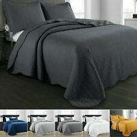 3 Piece Quilted Bedspread Bed Cover Throw Set Single Double King Super King Size