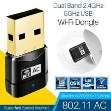 600Mbps Dual Band 802.11ac 2.4/5GHz PC WiFi USB Adapter Network LAN MICRO Dongle