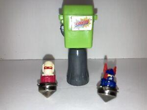 Vintage 1987 Tomy Spinjas 2 Battle Warriors and Launcher