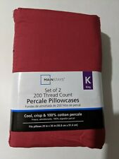 Mainstays Dark Red King size Pillowcases NEW