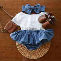 Newborn Baby Girls Outfits Lace Ruffled Tops+Demin Shorts Dress+Headband Clothes