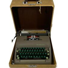 Vintage Smith Corona Sterling Typewriter Portable In Brown Tweed Case
