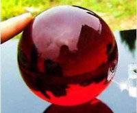 40mm + Stand Asian Rare glass red Magic Crystal Healing Ball Sphere k51