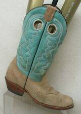 Corral Teal Brown Leather Buckaroo Stockman Cowboy Western Boots Womens Size 8 M
