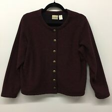 LLBean womens blazer burgundy black metal button front unlined stretch Size M