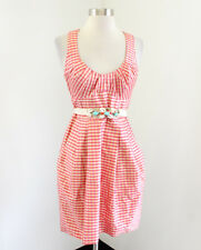 Nanette Lepore Pink Peach Gingham Plaid Silk Sleeveless Dress Size 0 Pockets