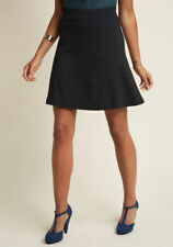 New Modcloth Knit A-Line Skirt Sz M Black Skater Style