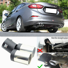 Car Rear Exhaust Throat Muffler Stainless Steel Double Tube Tail Pipe Trim Tip