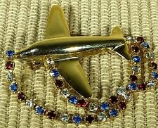 Gold-tone Airplane Brooch with rhinestone dangles 2 inches Unsigned CL61118D
