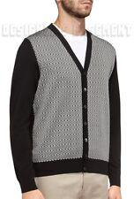SALVATORE FERRAGAMO black M GANCINI Pattern Buttoned CARDIGAN sweater NWT Authen