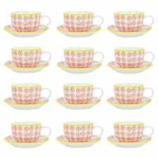 Cappuccino Cups and Saucers Set Coffee Tea Porcelain 250ml - Red Yellow - x12