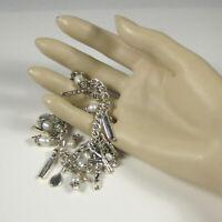 Charm Bracelet Silvertone Scissors Hairdryer Comb Hair Brush Jewelry 6.5 inch