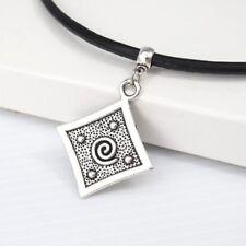 Vintage Silver Alloy Square Spiral Tribal Pendant Black Leather Surfer Necklace
