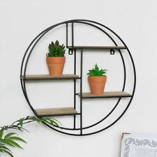 Round Black Wood Metal Wall Shelf Living Room Home Accessories Storage Display
