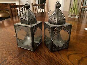 2 Decorative Metal Candle Lanterns