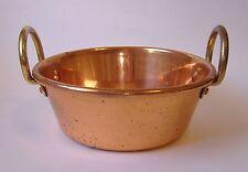 Copper Pot Bowl Vintage Double Brass Handles Kitchenware Home Decor