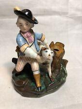 Antique 1800's German Figural Porcelain Inkwell H/Painted Boy Holding Dog