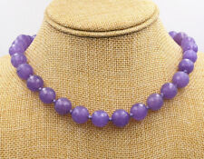 12mm Faceted Lavender Jade Gemstone Necklace 18'' Tibetan Silver Love Clasp
