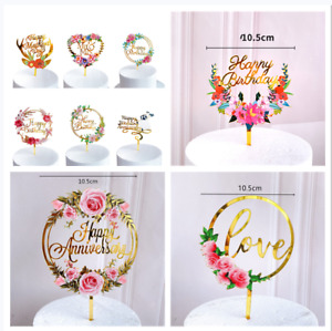 Gold Flower Anniversary Happy Birthday Cake Topper Acrylic Wedding Party Decor
