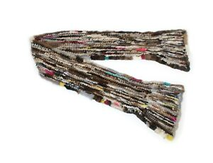 812468 New Multicolor Knit Knitted Mink Fur Scarf Collar Wrap Shawl Stole