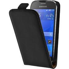 Kunst-Lederhülle für Samsung Galaxy Ace 4 Flip-Case schwarz + 2 Schutzfolien
