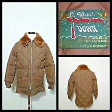 Walls 1970's Jacket Men's M Goose Down Brown Puffy Fur Collar Vintage inv#z9936