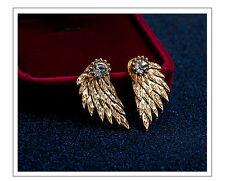 Schöne Flügel Ohrringe Gold mit Strass